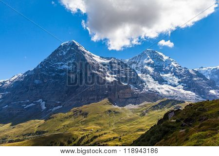 Eiger North Face, Eiger Glacier And Monch