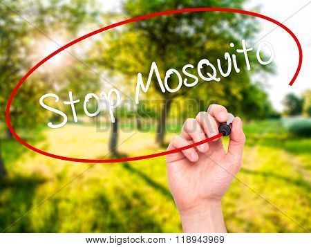 Man Hand Writing Stop Mosquito With Black Marker On Visual Screen