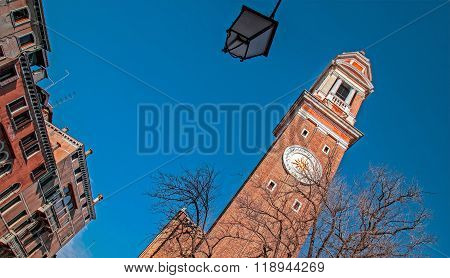 Clock On The Campanile Or Belltower Of The Chiesa Dei Santi Apostoli Di Cristo 1