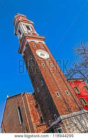 Clock On The Campanile Or Belltower Of The Chiesa Dei Santi Apostoli Di Cristo