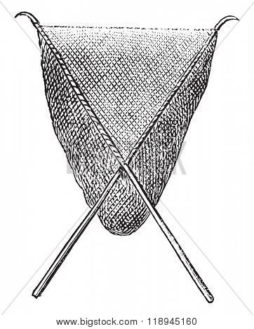 Scoop net or Hand net or dip net, vintage engraved illustration. Magasin Pittoresque 1878.