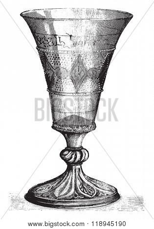 Archaeological Museum of Douai, Old glass chalice, says glass of Eight Priests, vintage engraved illustration. Magasin Pittoresque 1880.