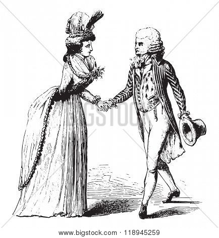 Bonnet, the houzarde and dress, dolman, vintage engraved illustration. Magasin Pittoresque 1880.