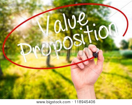 Man Hand Writing Value Proposition With Black Marker On Visual Screen