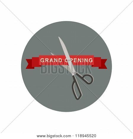 Grand Opening icon with scissors