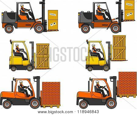 Forklifts. Heavy construction machines. Vector illustration