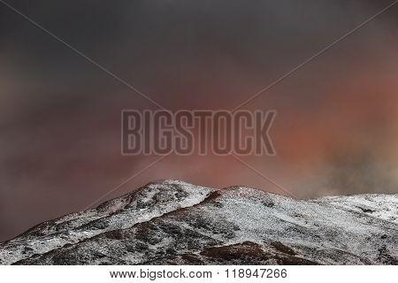 Fiery sunset in snowy mountains - Turkey