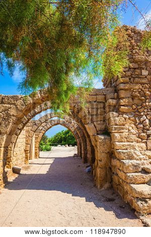 Ancient arched ceiling of stalls. National park Caesarea on the Mediterranean. Israel