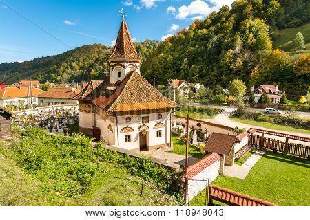Old church in Simon vilage,Ban-Moeciu, Romania