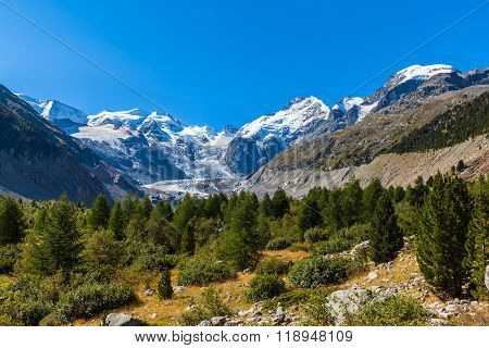 Bernina Massive And Morteratsch Glacier