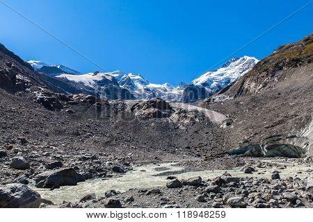 Bernina Massive And Morteratsch Glacier