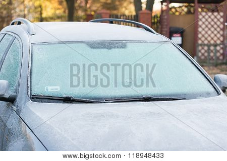car covered with frost. Wery cold morning. no snow