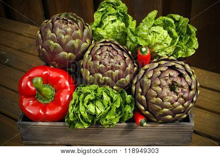Fresh Italian Vegetables On Wooden Background