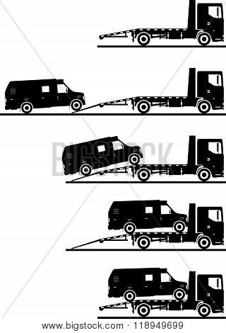 Set of silhouettes auto transporter and van isolated on white background in different positions. Vec