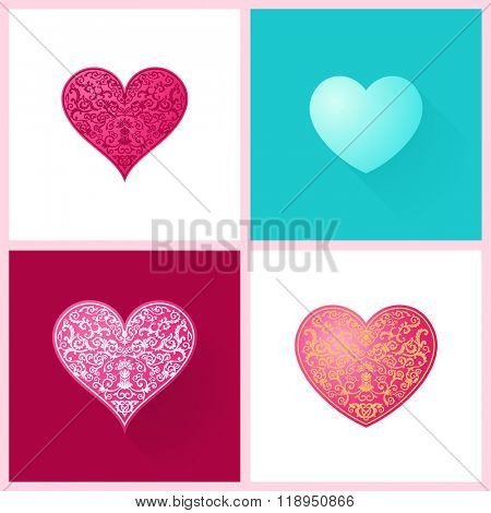 Woman's day Vector cards set templates. Women's day cards labels or posters. Valentine's Day gift cards. Woman day vector illustration. Love Woman's day red backgrounds