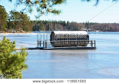 Octagonal Sauna On Ice