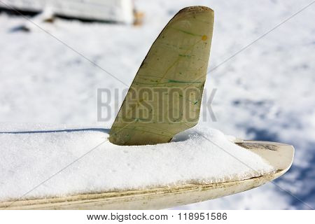 Snow Covered Surfboard