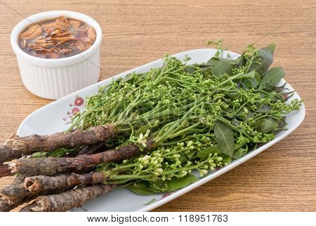Close Up Of Boil Neem With Sweet Sauce
