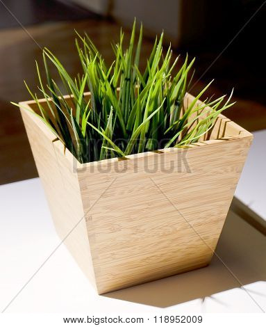 Green Artificial Grass In A Wooden Pot