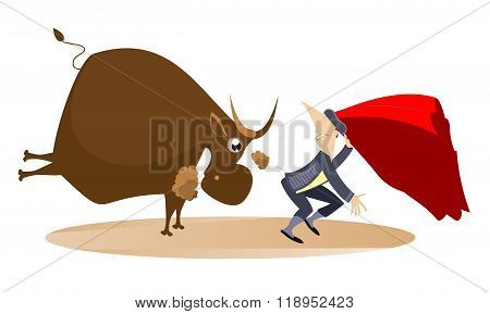 Bullfight. Angry bull pursues the bullfighter illustration