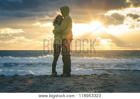 Young Couple Man and Woman Hugging in Love
