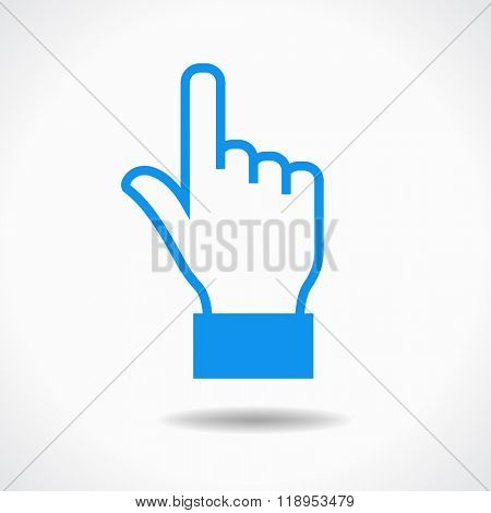 Hand cursor icon. Blue icon on white background. The file is saved in the version 10 EPS. This image contains transparency.