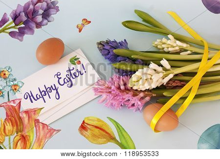 'happy Easter' Collage With Watercolor Drawings Of Flowers, Butterfly Etc