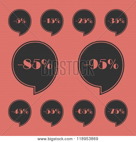 Set Of Discount Tags. Labels With Discount Percent. Sale Discount Marks Signs