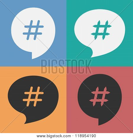 Set Of Speech Bubbles With Hash Tag