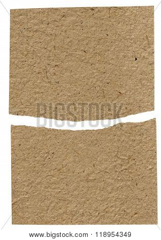 Torn Piece Of Kraft Brown Paper, Isolated On White
