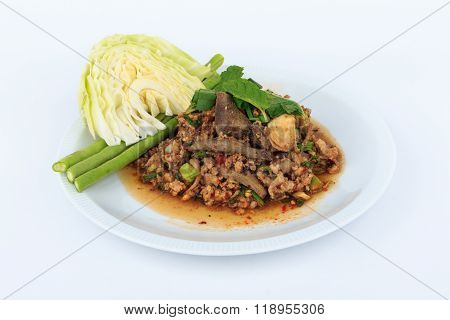 Thai ground pork salad, Spicy minced pork and pork liver salad (Larb Mu)