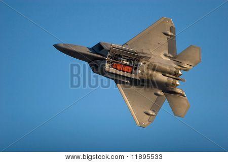 F-22 Raptor jet airplane during airshow