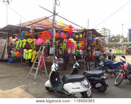 Pune, India - October 10, 2013: People Shopping For Traditional And Modern Sky Lanterns On The Occas