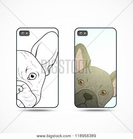 Set 2 covers ready-made templates for phone with bulldog