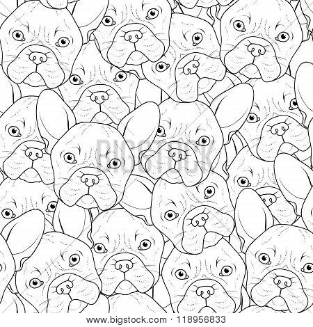 Seamless background with cute bulldog sketch . Realistic dog