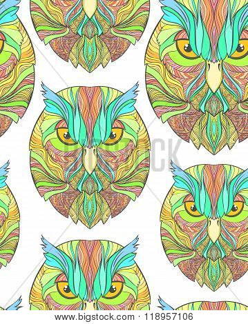 Seamless pattern with bright sketch owl in boho style. Abstract