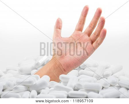 Hand in drug isolated on white background , clipping path