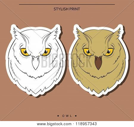Isolated set of sketch owls. Color and monochrome bird