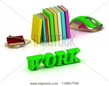 Work Bright Green Volume Letter And Textbooks And