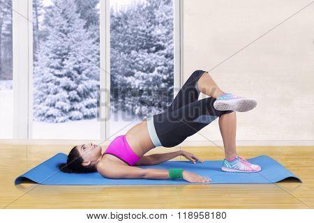 Indian Woman Doing Yoga Exercise