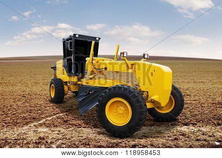 Motor Grader On The Road Construction