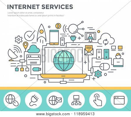Internet service concept illustration, thin line flat design