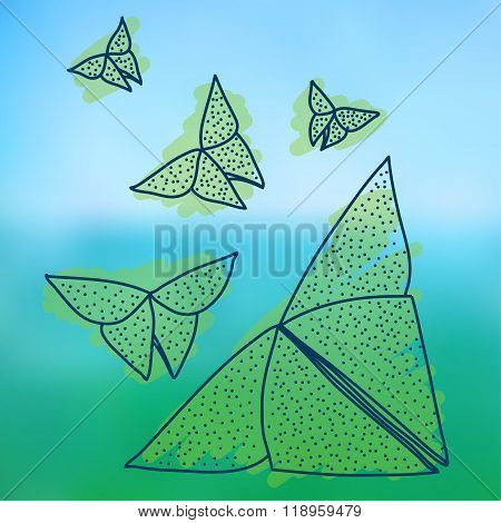 Drawing Of Origami Butterflies In Hairline Style.