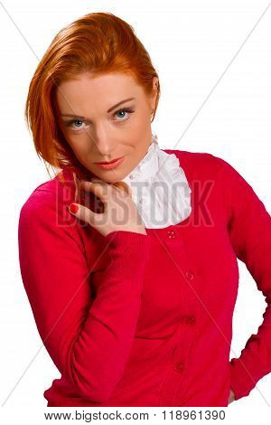 Red-haired Girl In A Pink Jacket