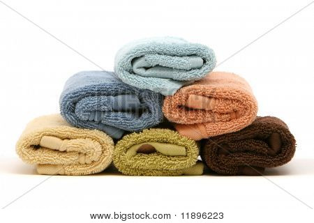 Stack of colorful cotton bath towels