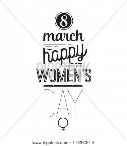 Eight march typographic design. Happy womens day.