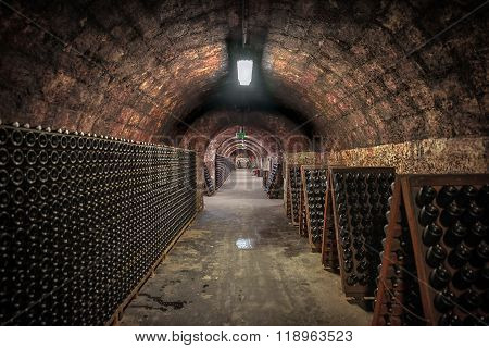 Long underground brick tunnel angle shot