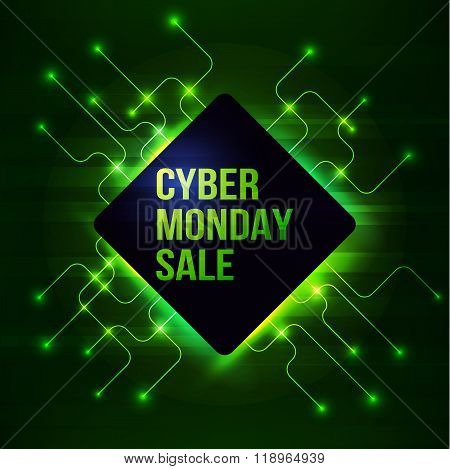Banner for cyber monday sale with circuit background
