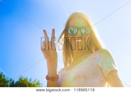 Happy Young Woman On Holi Color Festival