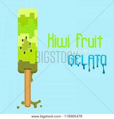 Kiwi fruit gelato (ice cream) logo or poster,